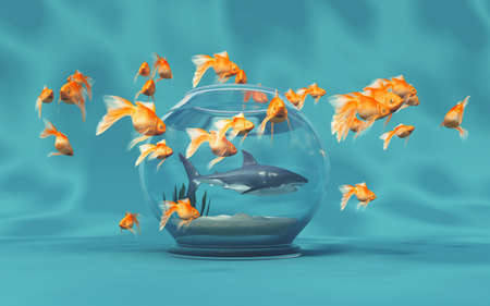 A big shark in a bowl and golden fishes.This is a 3d render illustration
