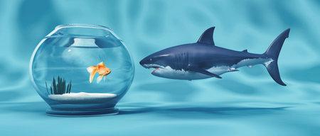 Goldener Fisch in einer Schüssel und einem großen Hai. Dies ist eine 3d render Abbildung