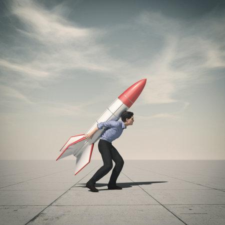 Business man holding jet pack rocket. This is a 3d render illustration