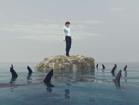 Young man on a rock in the ocean surrounded by sharks. This is a 3d render illustration