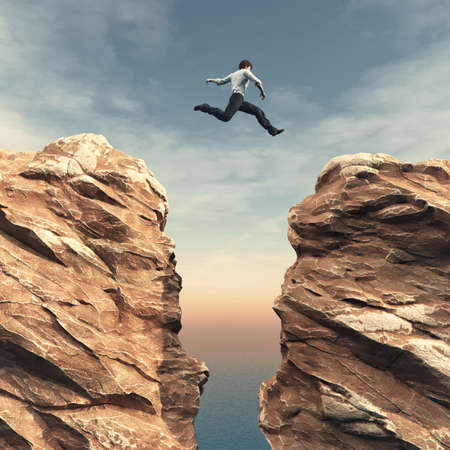 Young man jumping over the chasm. This is a 3d render illustration Stock fotó - 81222986