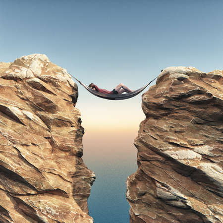 Young man relaxes in a hammock between two rocks. This is a 3d render illustration