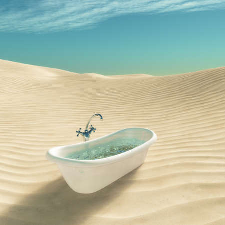 Bathtub full of water in the middle of desert. This is a 3d render illustration Stock Photo