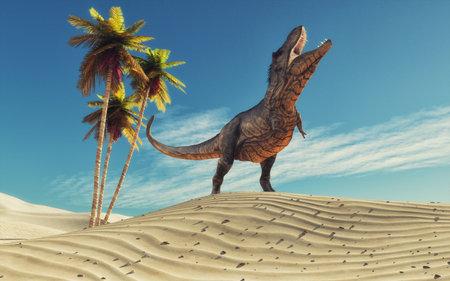 Dinosaur in desert thirsty.This is a 3d redner illustration