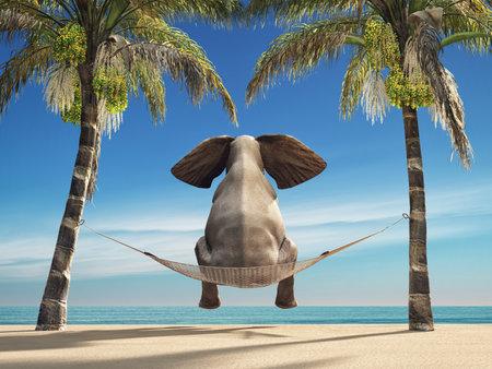 Un éléphant assis dans un hamac sur la plage et regarde la mer. Il s'agit d'une illustration de rendu 3D