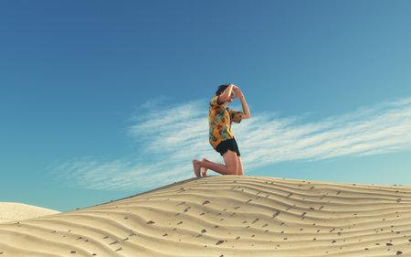 男の画像は、方法を探して砂漠で失われました。これは 3 d レンダリング図です。