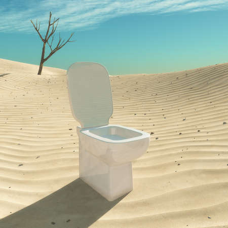 Toilet situated in the desert. This is a 3d render illustration Stock Photo