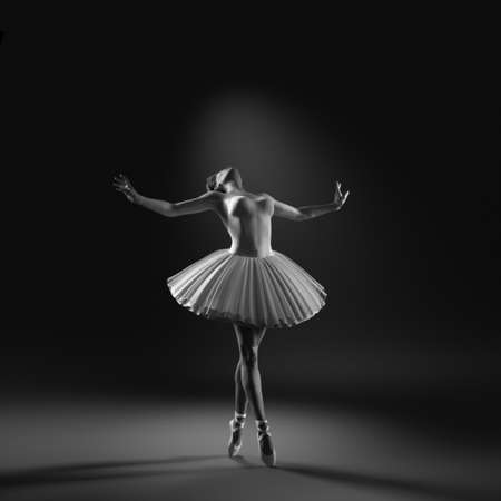 Young and beautiful ballerina with white tutu. This is a 3d render illustration.