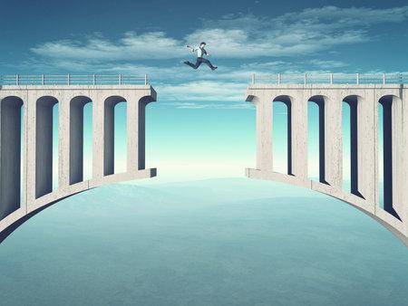 젊은 남자 깨진 된 다리 점프. 이 그림은 3d 렌더링 스톡 콘텐츠