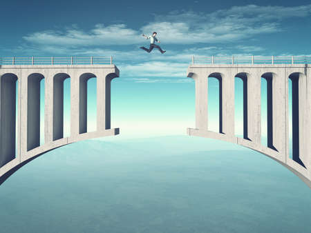 Young man jumping a broken bridge. This is a 3d render illustration