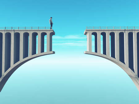 Man in front of a broken bridge. This is a 3d render illustration Standard-Bild