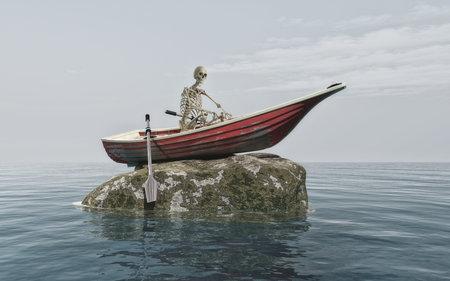 サメに囲まれた岩の上のボートで男の骨格。これは 3 d レンダリング図です。 写真素材