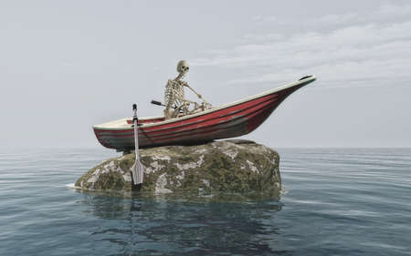 The skeleton of a man in a boat on a rock surrounded by sharks. This is a 3d render illustration