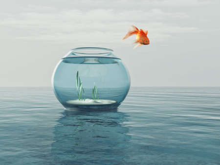 Goldfish in a bowl jumping in the sea. This is a 3d render illustration Фото со стока