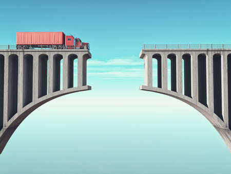 A big truck in front of a broken bridge. This is a 3d render illustration