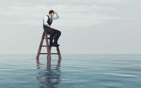 Young  man sits on a ladder into the ocean and look at the horizon. This is a 3d render illustration
