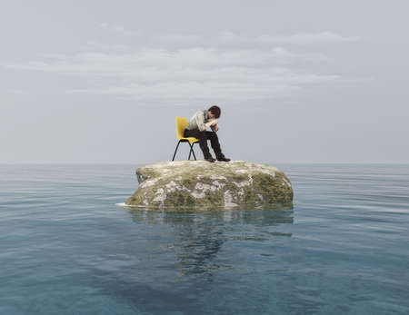 Young thoughtfully on a chair in the middle of the ocean. This is a 3d render illustration