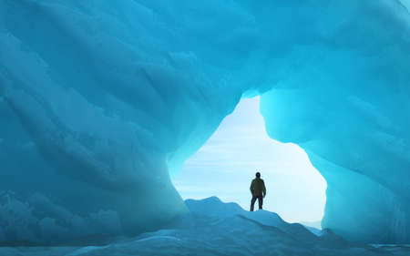 Young man under an ice arch. This is a 3d render illustration