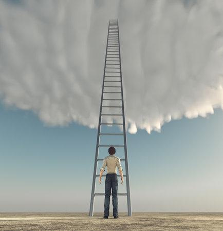 Man voor een ladder naar de hemel. Het concept van succes. Dit is een 3d render illustratie