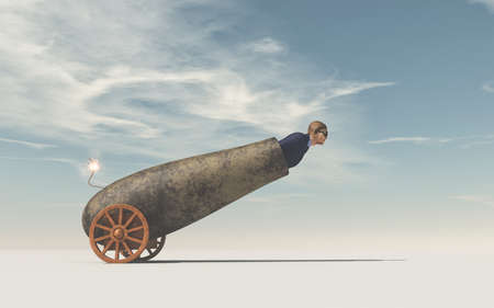 Man preparing to fly shot from weapon cannon gun. This is a 3d render illustration