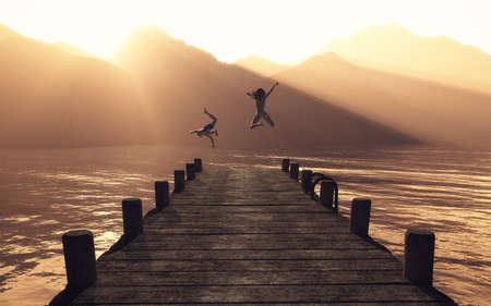 Young couple jumping on the pontoon in the lake. This is a 3d render illustration