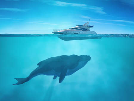 Huge whale near a cruise ship. This is a 3d render illustration Archivio Fotografico