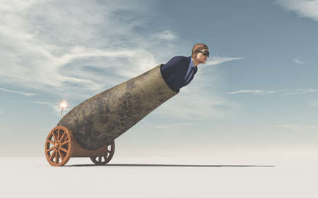 Man preparing to fly shot from weapon cannon gun. This is a 3d render illustration Фото со стока - 81706989