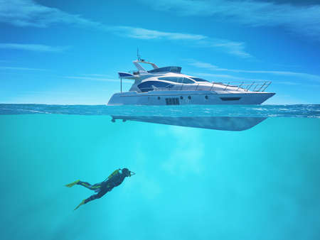Diver near a cruise ship. This is a 3d render illustration