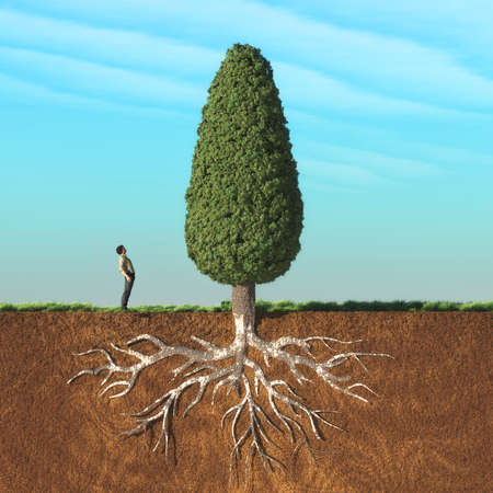 A man look up a big tree in two layers , with roots underground. This is a 3d render illustration Foto de archivo