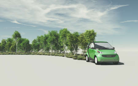 Conceptual image of a small car that planting trees and green plants. The concept of ecology. This is a 3d render illustration Zdjęcie Seryjne