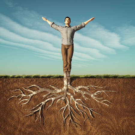 Image of a man that has taken root in the ground. This is a 3d render illustration Imagens - 81863415