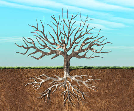 An image of a tree stylish seen in two layers , with roots underground. This is a 3d render illustration Stockfoto