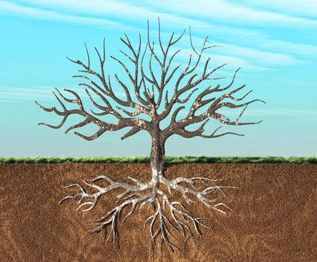 Een afbeelding van een boom stijlvol gezien in twee lagen, met wortels ondergronds. Dit is een 3d render illustratie
