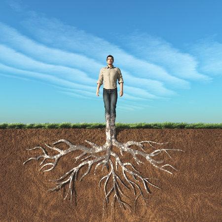 地面に根付いている人のイメージ。これは 3 d レンダリング図です。