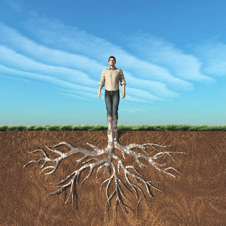 Image of a man that has taken root in the ground. This is a 3d render illustration