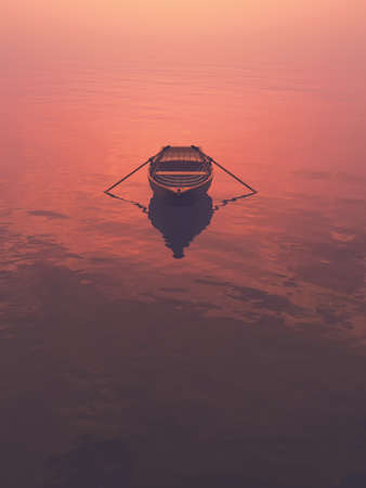 A boat on the lake at sunset. This is a 3d render illustration Reklamní fotografie