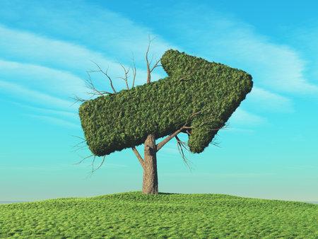 側の矢印の形をした緑の木.これは 3 d レンダリング図です。