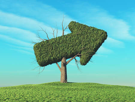 A green tree in the shape of the arrow pointing to the side.. This is a 3d render illustration