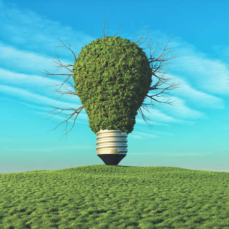 Une ampoule avec arbre vert sur la colline . ceci est une illustration de rendu 3d Banque d'images - 82025775