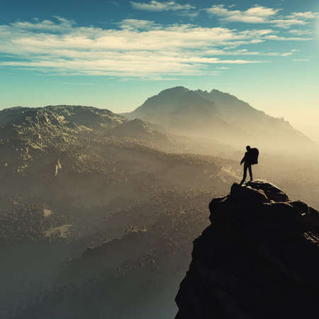 Young man up the mountain admiring the landscape. This is a 3d render illustration