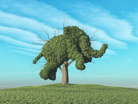 A green tree in the shape of elephant. This is a 3d render illustration