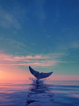 A whale dives at sunset. This is a 3d render illustration Zdjęcie Seryjne - 82335181