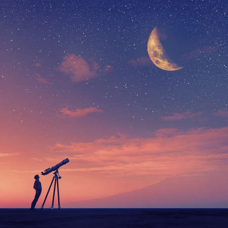 Man looks through a telescope at the moon. This is a 3d render illustration 版權商用圖片