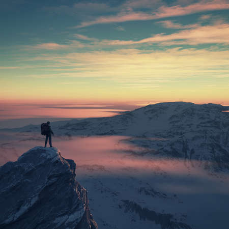 Young man with the backpack the mountain admiring the landscape. This is a 3d render illustration