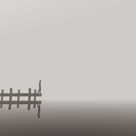Man sits on a pier and watch the lake covered with fog. This is a 3d render illustration