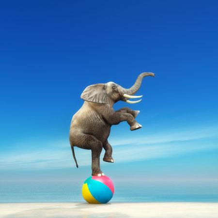 Un éléphant sur une balle de plage sur le bord de la mer. Il s'agit d'une illustration de rendu 3D Banque d'images - 82335183