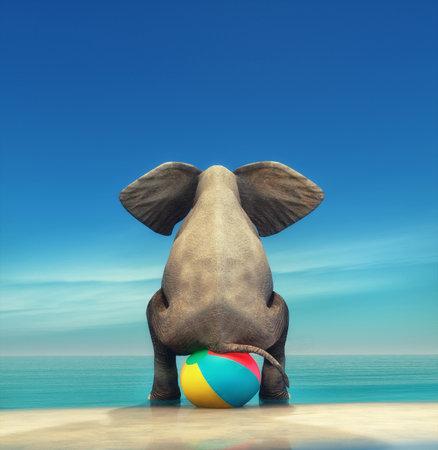 Un éléphant sur une balle de plage sur le bord de la mer. Il s'agit d'une illustration de rendu 3D Banque d'images - 82310455