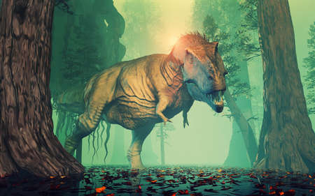神秘的な森の Trex 恐竜。これは 3 d レンダリング図です。 写真素材