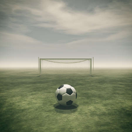 Soccer ball on a green grass and football gate empty. This is a 3d render illustration Stock Photo