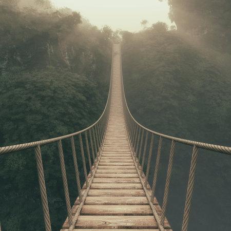 Touwbrug opgehangen tussen bergen. Dit is een 3d render illustratie. Stockfoto